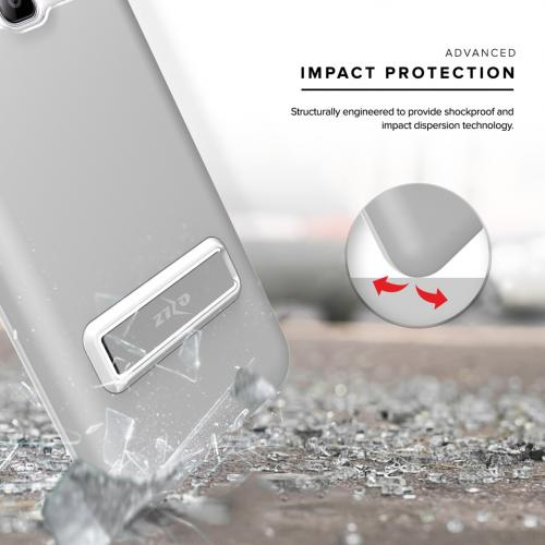 Samsung Galaxy J7 (2015) Case, ELITE Cover Slim & Protective Case w/ Built-in [MAGNETIC Kickstand] Shockproof Protection Lightweight [Metallic Hybrid] w/ Tempered Glass [Silver] - (ID: 1ELT-SAMGJ7-SL)