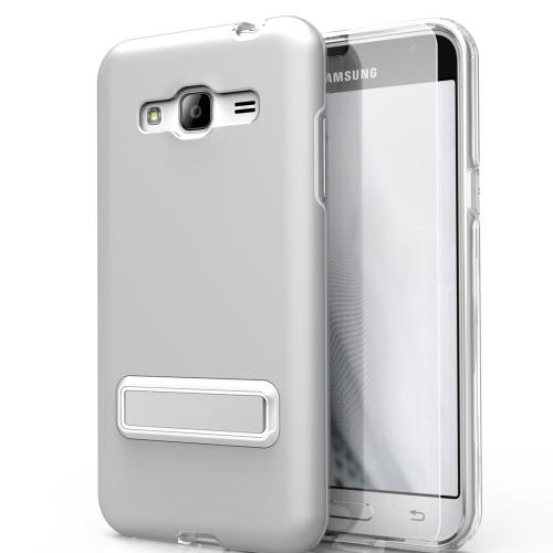 Samsung Galaxy J7 (2015) Case, ELITE Cover Slim & Protective Case w/ Built-in [MAGNETIC Kickstand] Shockproof Protection Lightweight [Metallic Hybrid] w/ Tempered Glass [Silver]