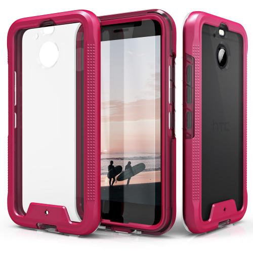 HTC Bolt Case, ION Triple Layered Shockproof Protection TPU & PC Hybrid Cover w/ Tempered Glass [Hot Pink/ Clear]
