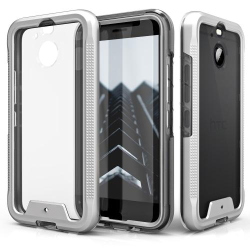 HTC Bolt Case, ION Triple Layered Shockproof Protection TPU & PC Hybrid Cover w/ Tempered Glass [Silver/ Clear]