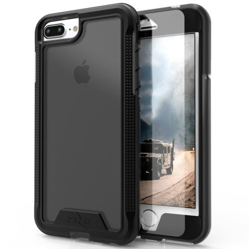 [Apple iPhone 7 Plus] (5.5 inch) Case, ION Single Layered Shockproof Protection TPU & PC Hybrid Cover w/ Tempered Glass [Black/ Smoke]