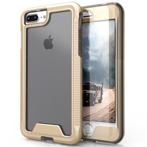 [Apple iPhone 7 Plus] (5.5 inch) Case, ION Single Layered Shockproof Protection TPU & PC Hybrid Cover w/ Tempered Glass [Gold/ Clear]