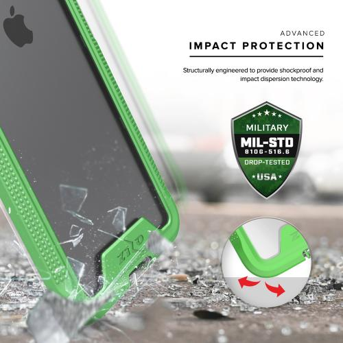 [Apple iPhone 7 Plus] (5.5 inch) Case, ION Single Layered Shockproof Protection TPU & PC Hybrid Cover w/ Tempered Glass [Neon Green/ Clear]