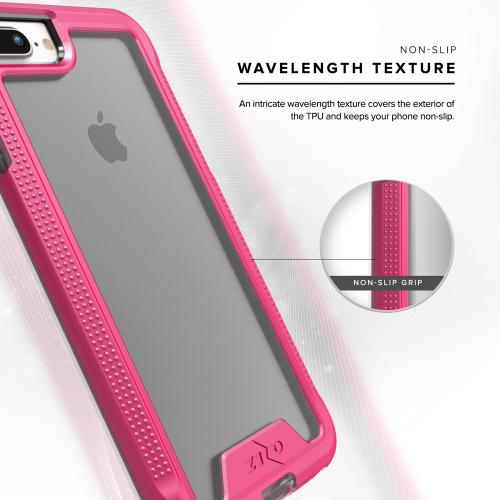 Apple iPhone 7 Plus (5.5 inch) Case, ION Single Layered Shockproof Protection TPU & PC Hybrid Cover w/ Tempered Glass [Hot Pink/ Clear]