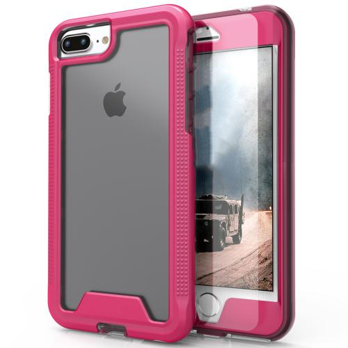 [Apple iPhone 7 Plus] (5.5 inch) Case, ION Single Layered Shockproof Protection TPU & PC Hybrid Cover w/ Tempered Glass [Hot Pink/ Clear]