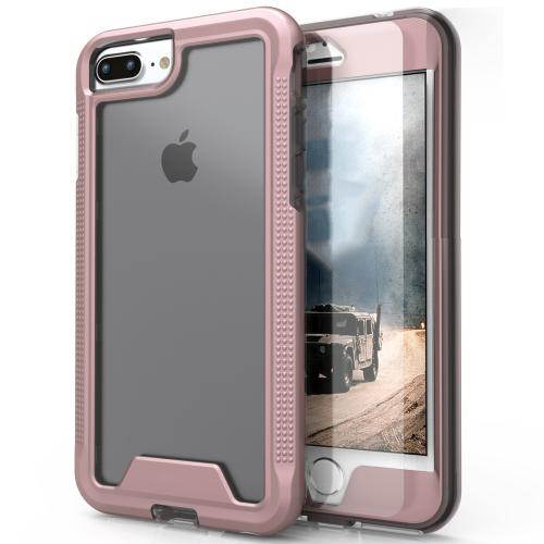 [Apple iPhone 7 Plus] (5.5 inch) Case, ION Single Layered Shockproof Protection TPU & PC Hybrid Cover w/ Tempered Glass [Rose Gold/ Clear]