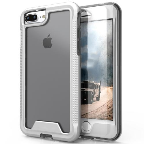 [Apple iPhone 7 Plus] (5.5 inch) Case, ION Single Layered Shockproof Protection TPU & PC Hybrid Cover w/ Tempered Glass [Silver/ Clear]