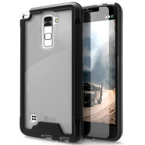 LG Stylo 2 Case, ION Single Layered Shockproof Protection TPU & PC Hybrid Cover w/ Tempered Glass [Black/ Clear]
