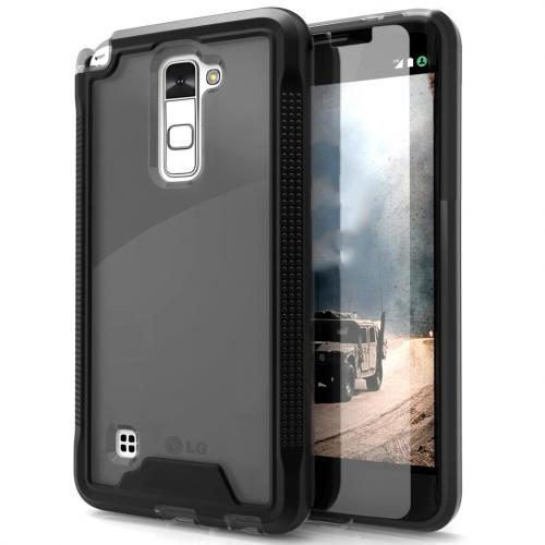 LG Stylo 2 Case, ION Single Layered Shockproof Protection TPU & PC Hybrid Cover w/ Tempered Glass [Black/ Smoke]