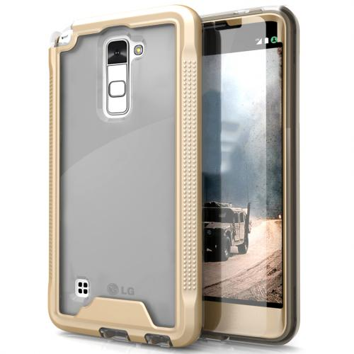 LG Stylo 2 Case, ION Single Layered Shockproof Protection TPU & PC Hybrid Cover w/ Tempered Glass [Gold/ Clear]