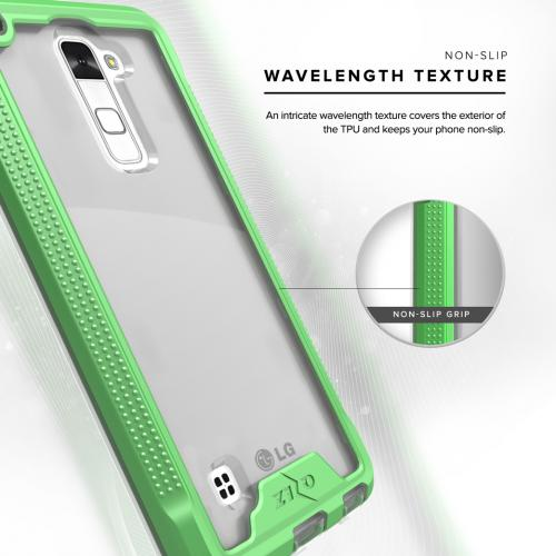 LG Stylo 2 Case, ION Single Layered Shockproof Protection TPU & PC Hybrid Cover w/ Tempered Glass [Neon Green/ Clear]