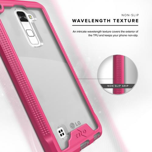 [LG Stylo 2] Case, ION Single Layered Shockproof Protection TPU & PC Hybrid Cover w/ Tempered Glass [Hot Pink/ Clear]