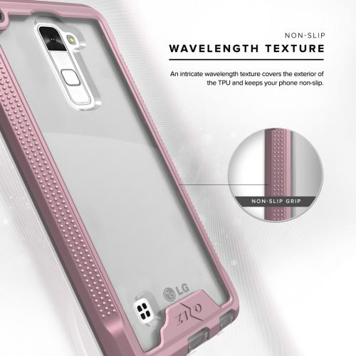 [LG Stylo 2] Case, ION Single Layered Shockproof Protection TPU & PC Hybrid Cover w/ Tempered Glass [Rose Gold/ Clear]