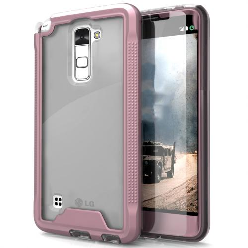 LG Stylo 2 Case, ION Single Layered Shockproof Protection TPU & PC Hybrid Cover w/ Tempered Glass [Rose Gold/ Clear]
