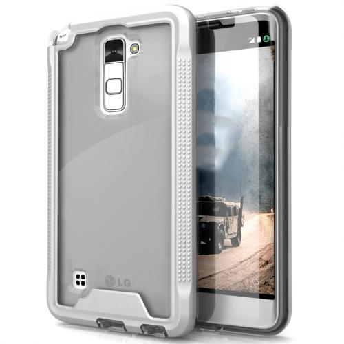 LG Stylo 2 Case, ION Single Layered Shockproof Protection TPU & PC Hybrid Cover w/ Tempered Glass [Silver/ Clear]