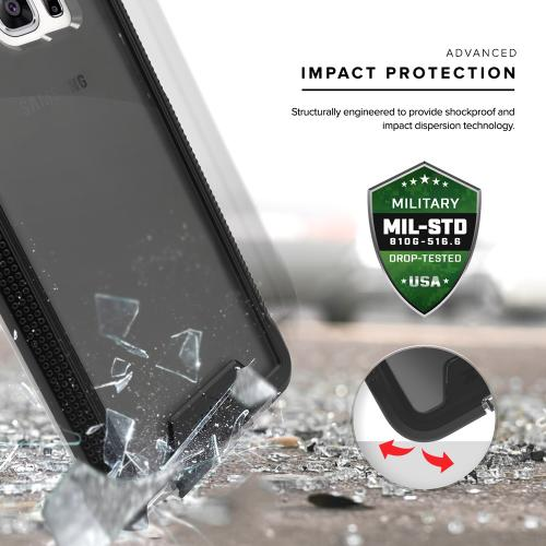 Samsung Galaxy Note 7 Case, ION Single Layered Shockproof Protection TPU & PC Hybrid Cover w/ Tempered Glass [Black/ Smoke]