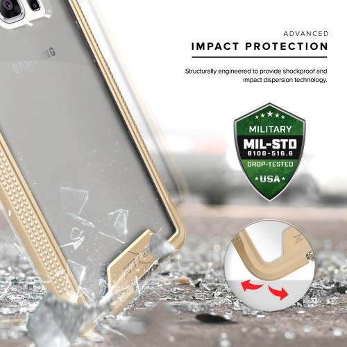 Samsung Galaxy Note 7 Case, ION Single Layered Shockproof Protection TPU & PC Hybrid Cover w/ Tempered Glass [Gold/ Clear]