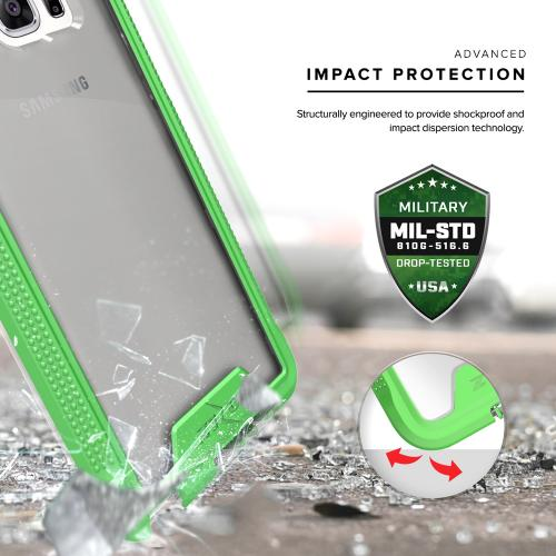 Samsung Galaxy Note 7 Case, ION Single Layered Shockproof Protection TPU & PC Hybrid Cover w/ Tempered Glass [Neon Green/ Clear]