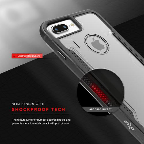 Apple iPhone 7 Plus (5.5 inch) Case, SHOCK Series Aluminum Metal Bumper [Crystal Clear] Hybrid Case w/ Reinforced Edges [Black] - (ID: 1SHK-IPH7PLUS-BLK)