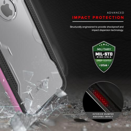 Apple iPhone 7 Plus (5.5 inch) Case, SHOCK Series Aluminum Metal Bumper [Crystal Clear] Hybrid Case w/ Reinforced Edges [Pink]