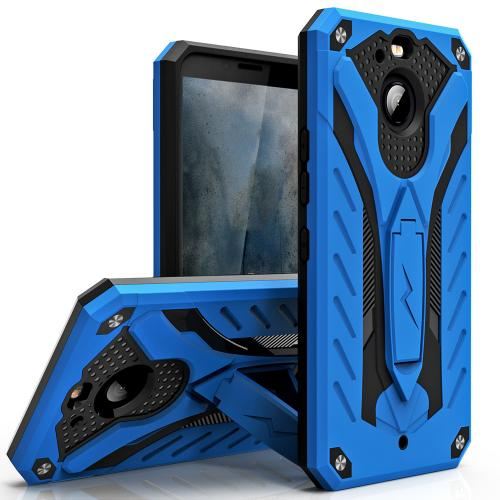 HTC Bolt Case, STATIC Dual Layer Hard Case TPU Hybrid [Military Grade] w/ Kickstand & Shock Absorption [Blue/ Black]