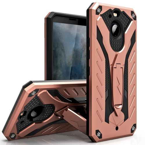 HTC Bolt Case, STATIC Dual Layer Hard Case TPU Hybrid [Military Grade] w/ Kickstand & Shock Absorption [Rose Gold/ Black]