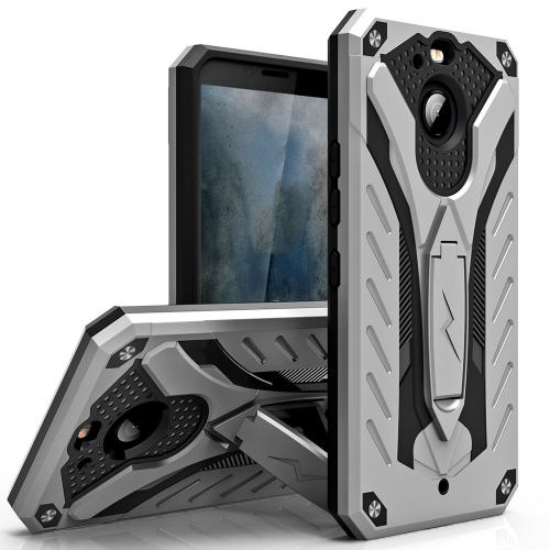 HTC Bolt Case, STATIC Dual Layer Hard Case TPU Hybrid [Military Grade] w/ Kickstand & Shock Absorption [Silver/ Black]