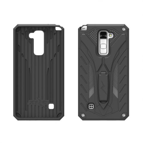 LG Stylo 2 Plus Case, STATIC Dual Layer Hard Case TPU Hybrid [Military Grade] w/ Kickstand & Shock Absorption [Black] - (ID: 1STT-LGSTP2-BKBK)