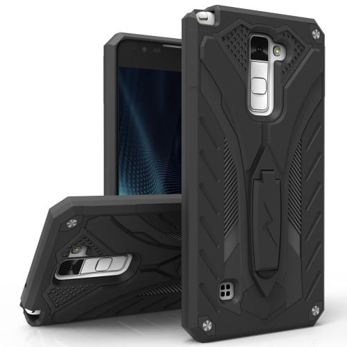 LG Stylo 2 Plus Case, STATIC Dual Layer Hard Case TPU Hybrid [Military Grade] w/ Kickstand & Shock Absorption [Black]