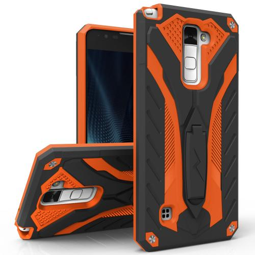 [G Stylo 2 Plus Case, STATIC Dual Layer Hard Case TPU Hybrid [Military Grade] w/ Kickstand & Shock Absorption [Black/ Orange] - (ID: 1STT-LGSTP2-BKOR)