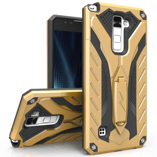 LG Stylo 2 Plus Case, STATIC Dual Layer Hard Case TPU Hybrid [Military Grade] w/ Kickstand & Shock Absorption [Gold/ Black] - (ID: 1STT-LGSTP2-GDBK)