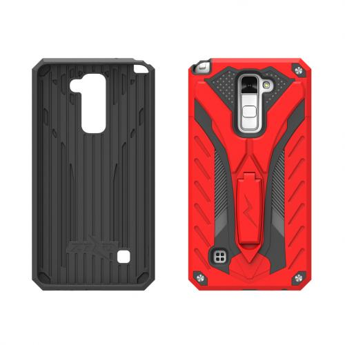 LG Stylo 2 Plus Case, STATIC Dual Layer Hard Case TPU Hybrid [Military Grade] w/ Kickstand & Shock Absorption [Red/ Black] - (ID: 1STT-LGSTP2-RDBK)