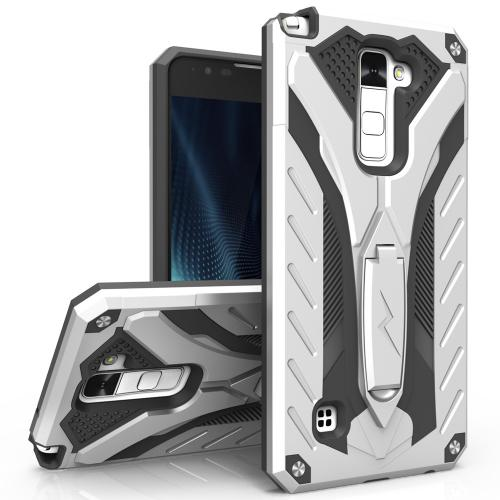 [LG Stylo 2 Plus] Case, STATIC Dual Layer Hard Case TPU Hybrid [Military Grade] w/ Kickstand & Shock Absorption [Silver/ Black]