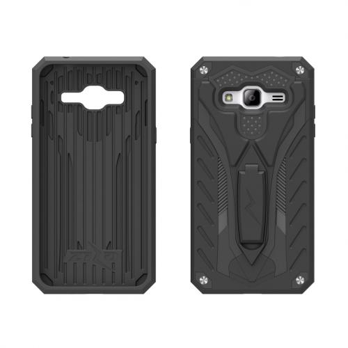 [Samsung Galaxy J7] (2015) Case, STATIC Dual Layer Hard Case TPU Hybrid [Military Grade] w/ Kickstand & Shock Absorption [Black]
