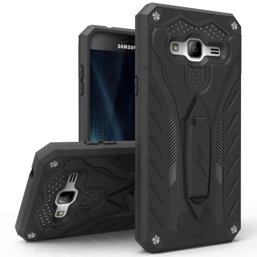 Samsung Galaxy J7 (2015) Case, STATIC Dual Layer Hard Case TPU Hybrid [Military Grade] w/ Kickstand & Shock Absorption [Black] - (ID: 1STT-SAMGJ715-BKBK)
