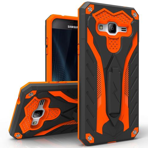 Samsung Galaxy J7 (2015) Case, STATIC Dual Layer Hard Case TPU Hybrid [Military Grade] w/ Kickstand & Shock Absorption [Black/ Orange]