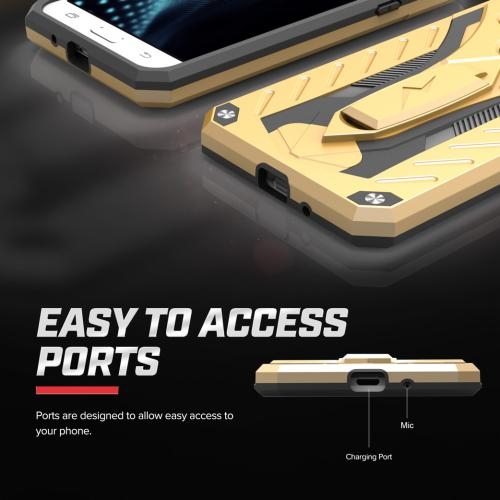 [Samsung Galaxy J7] (2015) Case, STATIC Dual Layer Hard Case TPU Hybrid [Military Grade] w/ Kickstand & Shock Absorption [Gold/ Black]