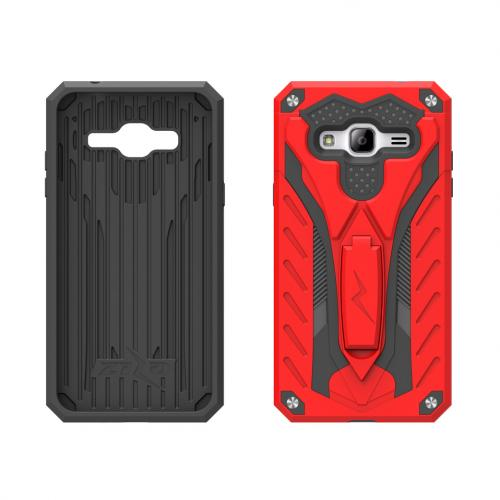 Samsung Galaxy J7 (2015) Case, STATIC Dual Layer Hard Case TPU Hybrid [Military Grade] w/ Kickstand & Shock Absorption [Red/ Black] - (ID: 1STT-SAMGJ715-RDBK)