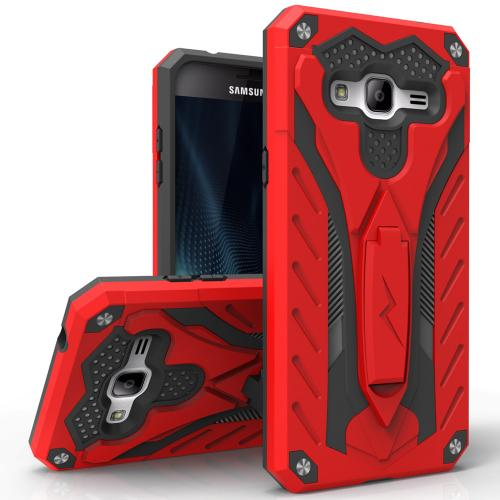 Samsung Galaxy J7 (2015) Case, STATIC Dual Layer Hard Case TPU Hybrid [Military Grade] w/ Kickstand & Shock Absorption [Red/ Black]