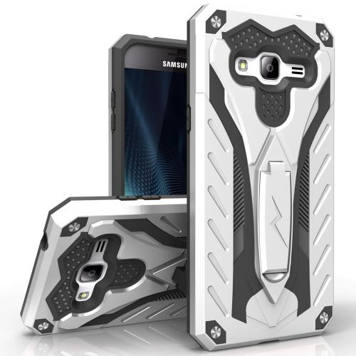 Samsung Galaxy J7 (2015) Case, STATIC Dual Layer Hard Case TPU Hybrid [Military Grade] w/ Kickstand & Shock Absorption [Silver/ Black] - (ID: 1STT-SAMGJ715-SLBK)