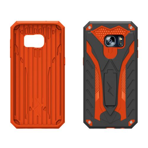 Samsung Galaxy Note 7 Case, STATIC Dual Layer Hard Case TPU Hybrid [Military Grade] w/ Kickstand & Shock Absorption [Black/ Orange]