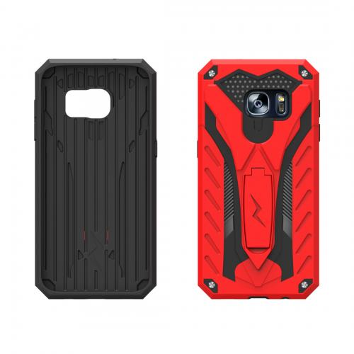 Samsung Galaxy Note 7 Case, STATIC Dual Layer Hard Case TPU Hybrid [Military Grade] w/ Kickstand & Shock Absorption [Red/ Black] - (ID: 1STT-SAMGN7-RDBK)