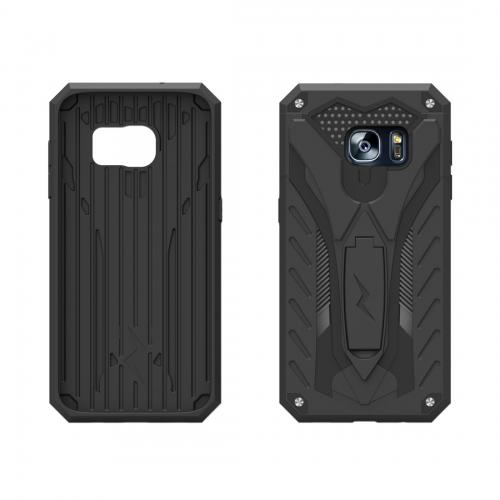 Samsung Galaxy S7 Edge Case, STATIC Dual Layer Hard Case TPU Hybrid [Military Grade] w/ Kickstand & Shock Absorption [Black] - (ID: 1STT-SAMGS7ED-BKBK)