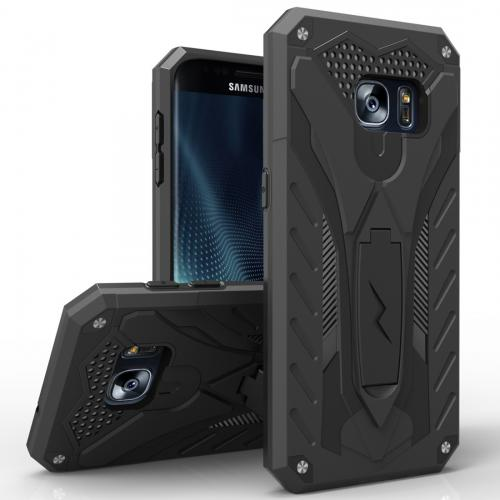 Samsung Galaxy S7 Edge Case, STATIC Dual Layer Hard Case TPU Hybrid [Military Grade] w/ Kickstand & Shock Absorption [Black]