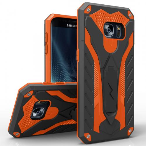 Samsung Galaxy S7 Edge Case, STATIC Dual Layer Hard Case TPU Hybrid [Military Grade] w/ Kickstand & Shock Absorption [Black/ Orange] - (ID: 1STT-SAMGS7ED-BKOR)