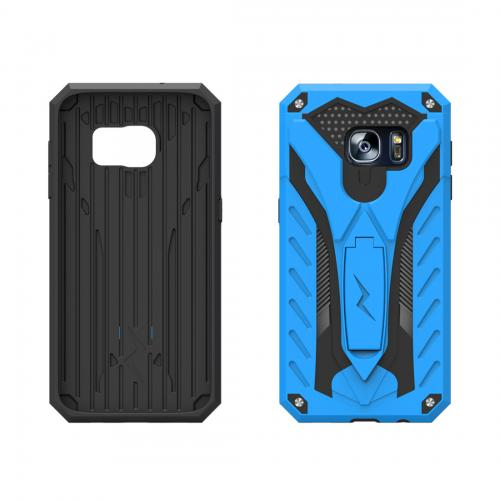 Samsung Galaxy S7 Edge Case, STATIC Dual Layer Hard Case TPU Hybrid [Military Grade] w/ Kickstand & Shock Absorption [Blue/ Black] - (ID: 1STT-SAMGS7ED-BLBK)