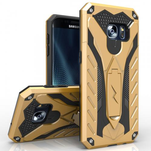Samsung Galaxy S7 Edge Case, STATIC Dual Layer Hard Case TPU Hybrid [Military Grade] w/ Kickstand & Shock Absorption [Gold/ Black] - (ID: 1STT-SAMGS7ED-GDBK)