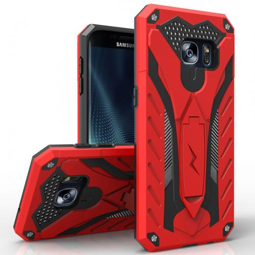 Samsung Galaxy S7 Edge Case, STATIC Dual Layer Hard Case TPU Hybrid [Military Grade] w/ Kickstand & Shock Absorption [Red/ Black] - (ID: 1STT-SAMGS7ED-RDBK)