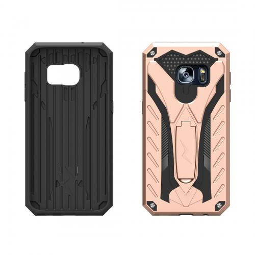 Samsung Galaxy S7 Edge Case, STATIC Dual Layer Hard Case TPU Hybrid [Military Grade] w/ Kickstand & Shock Absorption [Rose Gold/ Black] - (ID: 1STT-SAMGS7ED-RGDBK)