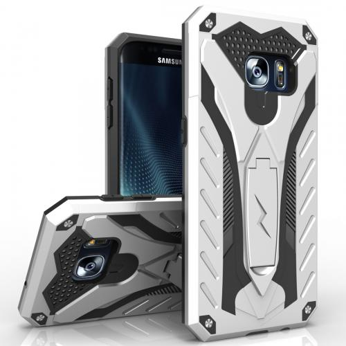 Samsung Galaxy S7 Edge Case, STATIC Dual Layer Hard Case TPU Hybrid [Military Grade] w/ Kickstand & Shock Absorption [Silver/ Black]
